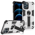 Shockproof TPU + PC Protective Case with Invisible Holder For iPhone 12 Pro(Silver)