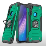 For Xiaomi Redmi Note 8 Magnetic Armor Shockproof TPU + PC Case with Metal Ring Holder(Dark Green)