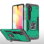 For Xiaomi Note 10 Lite Magnetic Armor Shockproof TPU + PC Case with Metal Ring Holder(Dark Green)