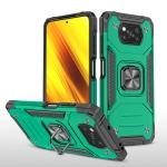 For Xiaomi Poco X3 Magnetic Armor Shockproof TPU + PC Case with Metal Ring Holder(Dark Green)