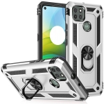 For Motorola Moto G9 Power Shockproof TPU + PC Protective Case with 360 Degree Rotating Holder(Silver)