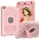 Contrast Color Robot Shockproof Silicone + PC Protective Case with Holder For iPad mini 5 & 4(Rose Gold)