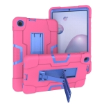 For Samsung Galaxy Tab A 8.4 (2020) T307 Contrast Color Robot Shockproof Silicon + PC Protective Case with Holder(Rose Red + Blue)