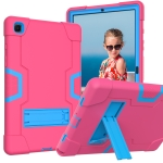 For Samsung Galaxy Tab A7 10.4 (2020) T500 Contrast Color Robot Shockproof Silicon + PC Protective Case with Holder(Rose Red + Blue)