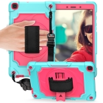 For Samsung Tab A 8.0 (2019)/T290 360 Degree Rotation Turntable Contrast Color Robot Shockproof Silicone + PC Protective Case with Holder(Mint Green + Rose Red)
