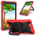 For Samsung Galaxy Tab A 8.0 (2019) T290 Contrast Color Shockproof Robot Silicone + PC Case with Wristband Holder(Red + Black)