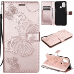 For OnePlus Nord N10 5G 3D Butterflies Embossing Pattern Horizontal Flip Leather Case with Holder & Card Slot & Wallet(Rose Gold)