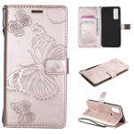 For OnePlus Nord N100 5G 3D Butterflies Embossing Pattern Horizontal Flip Leather Case with Holder & Card Slot & Wallet(Rose Gold)