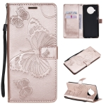For Xiaomi Mi 10T Lite 3D Butterflies Embossing Pattern Horizontal Flip Leather Case with Holder & Card Slot & Wallet(Rose Gold)