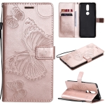 For Nokia 2.4 3D Butterflies Embossing Pattern Horizontal Flip Leather Case with Holder & Card Slot & Wallet(Rose Gold)