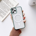 Clear PC + TPU Full Coverage Shockproof Magnetic Magsafe Case For iPhone 11 Pro Max(Deep Green)