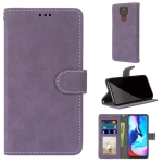 For Motorola Moto E7 Plus / G9 Play / G9 Retro Frosted Horizontal Flip PU Leather Case with Holder & Card Slots & Wallet & Photo Frame(Purple)