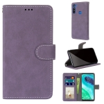 For Motorola Moto G8 Retro Frosted Horizontal Flip PU Leather Case with Holder & Card Slots & Wallet & Photo Frame(Purple)