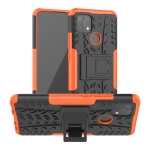 For OPPO A15 Tire Texture Shockproof TPU+PC Protective Case with Holder(Orange)