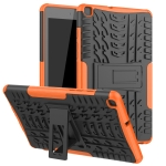 For Samsung Galaxy Tab A8.0 (2019) T295 / T290 Tire Texture TPU+PC Shockproof Case with Holder(Orange)