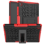 For Lenovo Tab M10 HD Gen 2 (TB-X306F) Tire Texture TPU+PC Shockproof Case with Holder(Red)