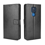 For Motorola Moto G Play 2021 Retro Crazy Horse Texture Horizontal Flip Leather Case with Holder & Card Slots & Lanyard(Black)