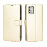 For Motorola Moto G Stylus 2021 Retro Crazy Horse Texture Horizontal Flip Leather Case with Holder & Card Slots & Lanyard(Gold)