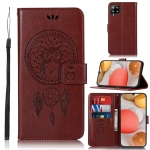 For Samsung Galaxy A12 Wind Chime Owl Embossing Pattern Horizontal Flip Leather Case, with Holder & Card Slots & Wallet(Brown)