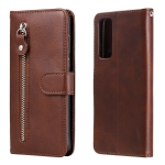 For Huawei Y7a Fashion Calf Texture Zipper Horizontal Flip Leather Case with Stand & Card Slots & Wallet Function(Brown)