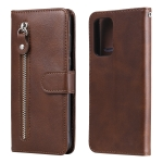 For Samsung Galaxy A52 5G Fashion Calf Texture Zipper Horizontal Flip Leather Case with Stand & Card Slots & Wallet Function(Brown)