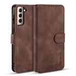 For Samsung Galaxy S21 5G DG.MING Retro Oil Side Horizontal Flip Case with Holder & Card Slots & Wallet(Coffee)