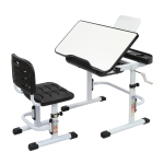 [US Warehouse] 80cm Hand-cranked Lifting Top Can Tilt Children Learning Table And Chairs with Reading Stand