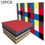 12 PCS Recording Studio Drum Room Acoustic Foam, Random Color Delivery