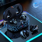H19T TWS Silicone Microphone Noise Reduction Gaming Wireless Bluetooth Earphone with Charging Box, Support Touch & Cool Lighting & Voice Assistant & Call (Blue)