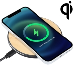GY-68 QI Standard Wooden Round Wireless Charger (Black)