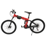 [US Warehouse] 26 inch 21-speed Foldable Mountain Bike with Riding Bag(Red)