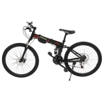 [US Warehouse] 24 inch 21-speed Foldable Mountain Bike with Riding Bag(Black)
