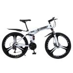 [US Warehouse] MEIYINUO 21-speed Steel Folding Double Disc Brake Mountain Bike with 26 inch Three-knives Wheel(White)