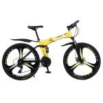 [US Warehouse] MEIYINUO 21-speed Steel Folding Double Disc Brake Mountain Bike with 26 inch Three-knives Wheel(Yellow)