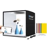 PULUZ 25cm Folding Portable Ring LED Photo Lighting Studio Tent Box + Shadowless Light Lamp Panel Pad with 12 Colors Backdrops, Size: 25cm x 25cm x 25cm (Black)