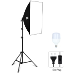 PULUZ 50x70cm Studio Softbox + 1.6m Tripod Mount + Single E27 30W 5700K White Light LED Light Bulb Photography Lighting Kit(EU Plug)