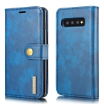 DG.MING Crazy Horse Texture Flip Detachable Magnetic Leather Case for Samsung Galaxy S10 Plus, with Holder & Card Slots & Wallet(Blue)