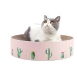 Round Corrugated Cat Scratcher Claw Sharpener Toy Bed, Colour: Pink 36x36x8cm