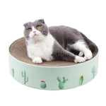 Round Corrugated Cat Scratcher Claw Sharpener Toy Bed, Colour: Green 32x32x6cm