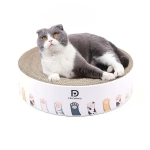 Round Corrugated Cat Scratcher Claw Sharpener Toy Bed, Colour: Paw Print 36x36x8cm