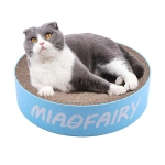 Round Corrugated Cat Scratcher Claw Sharpener Toy Bed, Colour: Blue Letters 41x41x10cm