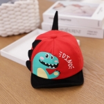 C0306 Spring Cartoon Dinosaur Pattern Baby Peaked Caps Infant Sunhat, Size: 48cm Adjustable(Red)