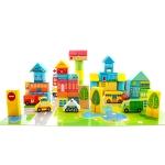 Onshine Wooden Puzzle Children Toy 62 PCS City Traffic Scene Building Blocks