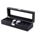 Woven Pattern PU Leather Watch Box Jewelry Storage Display Box, Colour: 6 Bits