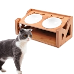 Bamboo Wood Lifting Cat Dining Table Adjustable Height Inclined Cat Bowl, Specification: Upgrade Porcelain Bowl