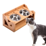 Bamboo Wood Lifting Cat Dining Table Adjustable Height Inclined Cat Bowl, Specification: Upgrade Stainless Steel Bowl