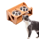 Bamboo Wood Lifting Cat Dining Table Adjustable Height Inclined Cat Bowl, Specification: N Bowl Stainless Steel Bowl