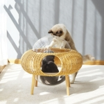 Closed Removable And Washable Breathable Space Capsule Rattan Cat Litter Starry Sky Cat House