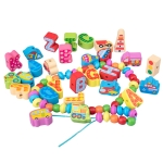 100 PCS / Set Letter+Traffic Children Stringing Threading Toys Early Education Cognitive Wooden Beads
