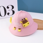 C0296 Little Cow Shape Baby Pot Hat Spring Children Wide Brim Fisherman Hat, Size: Around 50cm(Dark Pink)
